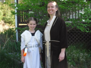 Princess Leia and a Jedi Master before we set off for the day.